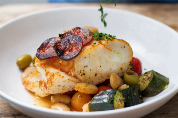 BAKED COD WITH BEANS, COURGETTES & CHORIZO